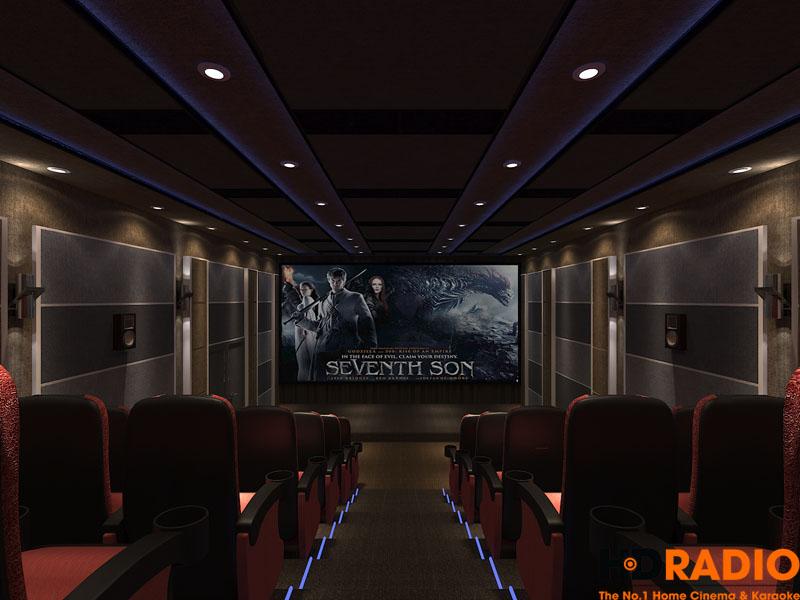 Hình ảnh thiết kế rạp chiếu phim nhìn từ phía sau lên màn hình, trong điều kiện bật đèn chiếu.
