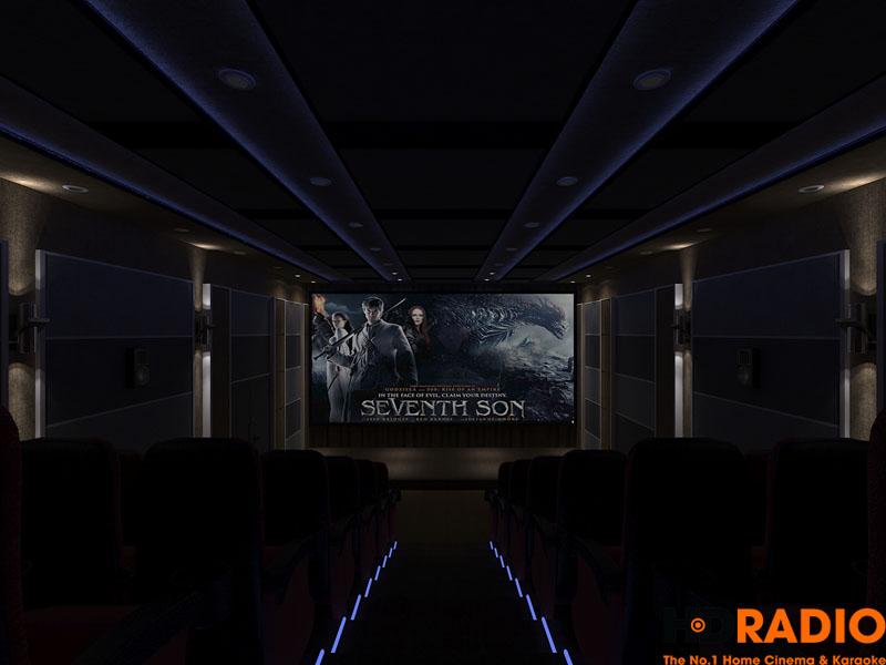 Khi tắt đèn đi trong phòng chiếu, vẫn đang để đèn trần.