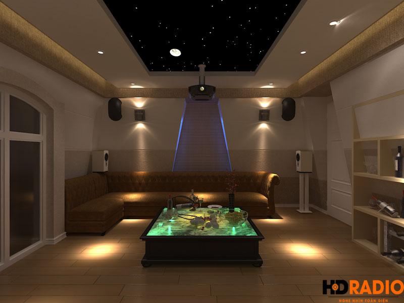 Thiết kế phòng chiếu phim gia đình biệt thự việt hưng hà nội