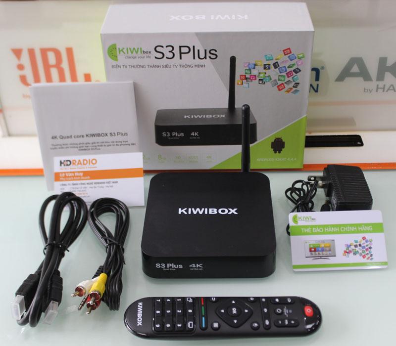 Trọn bộ phụ kiện TV Box Kiwbox S3 Plus gồm có: Box + Nguồn + Điều khiển + Cáp AV + Cáp HDMI + Thẻ bảo hành.