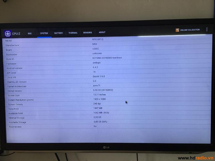 Đánh giá Android tv box MXQ M10 quan antutu và CPU-Z