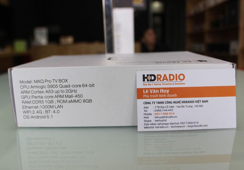 Mặt trái vỏ hộp TV Box MXQ Pro với chi tiết các thông số kỹ thuật như Ram + Bộ nhớ trong