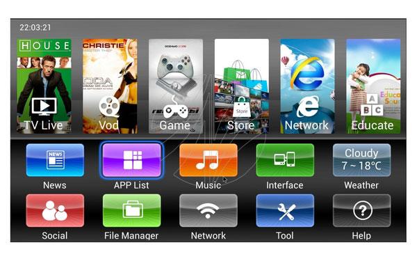 Giao diện Android TV Box V6 Dual Core trực quan dễ sử dụng, điều khiển hoàn toàn bằng Remote