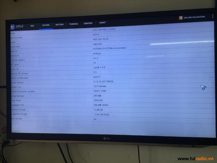 Bảng thông số kĩ thuật qua CPU-Z