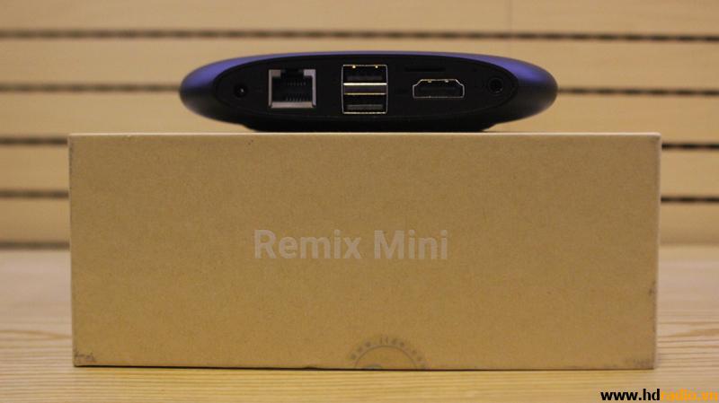 Các cổng kết nối của Android tivi REMIX mini ( từ trái qua phải gồm : Nguồn , Cổng mạng LAN, USB x2, HDMI, Headphone
