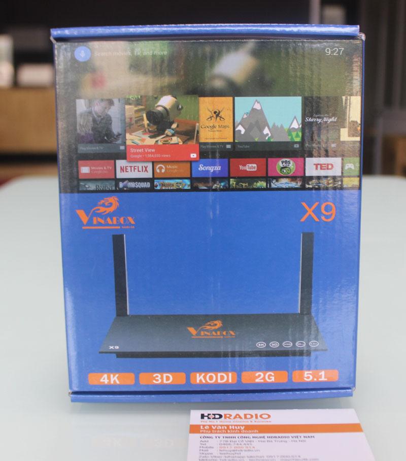 Mặt trước vỏ hộp TV Box Vinabox X9
