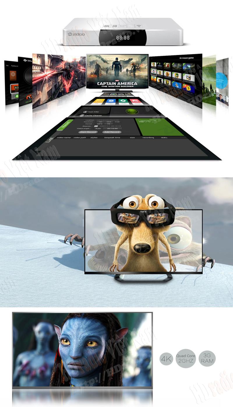 Smart Box Tivi Zidoo X9 hỗ trợ 3D 4k