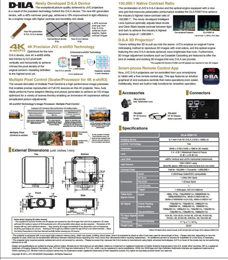Thống số kỹ thuật máy chiếu 4k JVC DLA-RS6710U - Hình 2