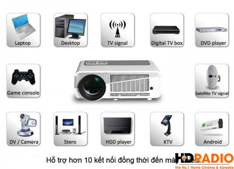 Máy chiếu giá rẻ BullPro BP600A Có khả năng kết nối gần như tất cả các thiết bị giải trí trên thị trường hiện nay.