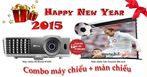 Combo máy chiếu BENQ W1070 + màn chiếu FixFrame 100 inch