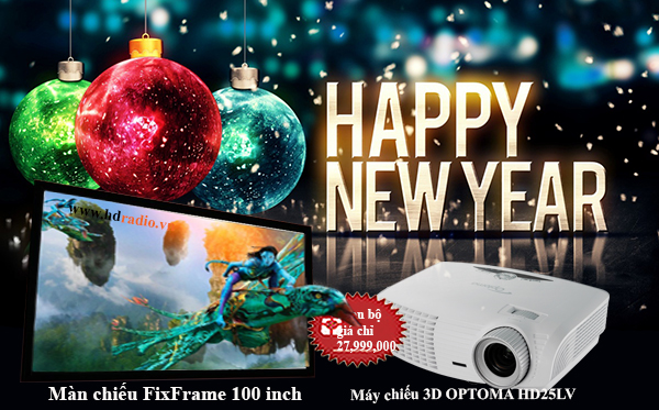 Combo máy chiếu Optoma HD25LV + màn chiếu FixFrame 100 inch
