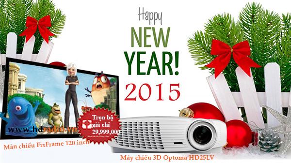 Combo máy chiếu Optoma HD25LV + màn chiếu FixFrame 120 inch