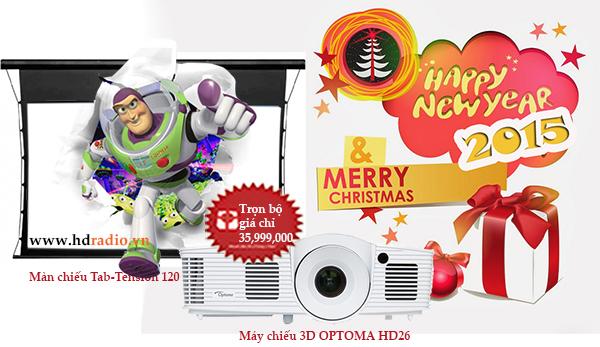 Combo máy chiếu Optoma HD26 + màn chiếu Tab-Tension 120 inch