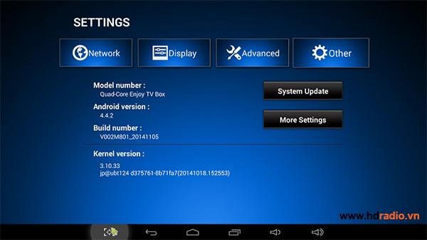 Sử dụng setting mbox để cài đặt android box